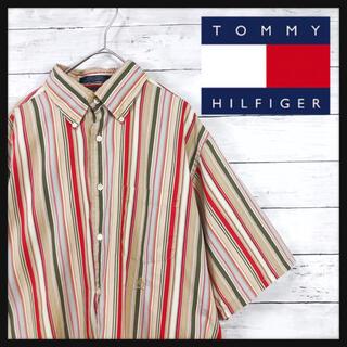 TOMMY HILFIGER - 【90年代トミーヒルフィガー】ストライプアシメカラー総柄 ガラシャツ
