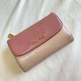 ミュウミュウ(miumiu)のmiumiu 二つ折り財布 ピンク バイカラー(財布)