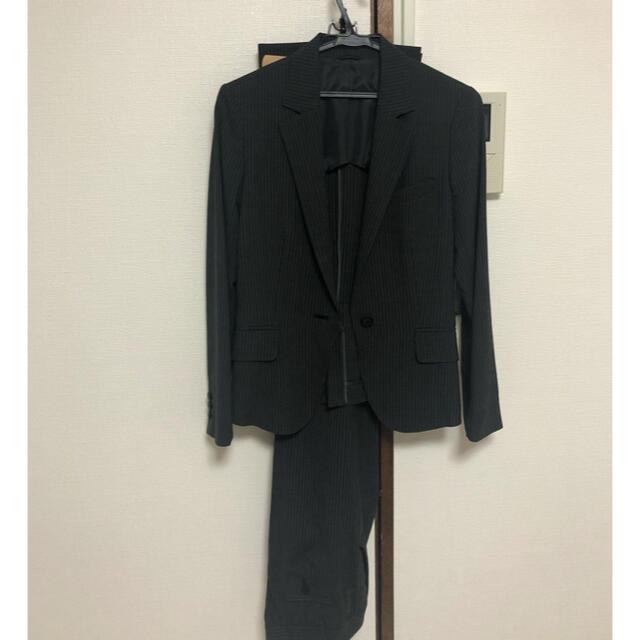 THE SUIT COMPANY(スーツカンパニー)のスーツ パンツスーツ 黒ストライプ セット 11号 夏 レディースのフォーマル/ドレス(スーツ)の商品写真