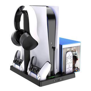 PS5 縦置きスタンド 冷却ファン イヤホンサポート付き 冷却パッド
