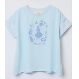 アフタヌーンティー(AfternoonTea)のALICE✖︎Afternoontea シフォンプリントTシャツサイズM ブルー(Tシャツ(半袖/袖なし))