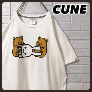 CUNE - ☆激カワ☆ キューン Tシャツ 白 ウサギ ハムスター 両面プリント