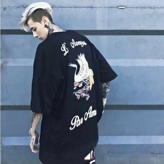 仙鶴Tシャツ 黒 ビックロゴ ストリート系 韓国ファッション バックプリント