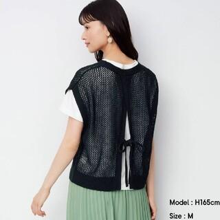ジーユー(GU)のジーユー GU メッシュバックリボンセーター (半袖)Q ベスト ブラック(ニット/セーター)