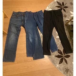 ユニクロ(UNIQLO)のユニクロ GU ジョガーパンツ レギュラージーンズ 3枚セット デニム 中古(デニム/ジーンズ)