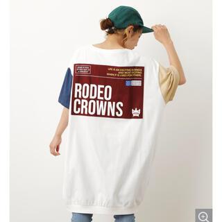 ロデオクラウンズワイドボウル(RODEO CROWNS WIDE BOWL)のロデオクラウンズ クレイジーカラーTワンピース 柄ホワイト(ひざ丈ワンピース)