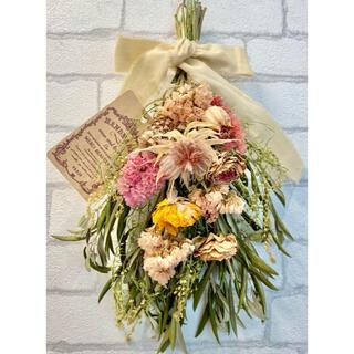 ドライフラワー スワッグ❁50ローズ 薔薇 スターチス ピンク オレンジ 花束(ドライフラワー)