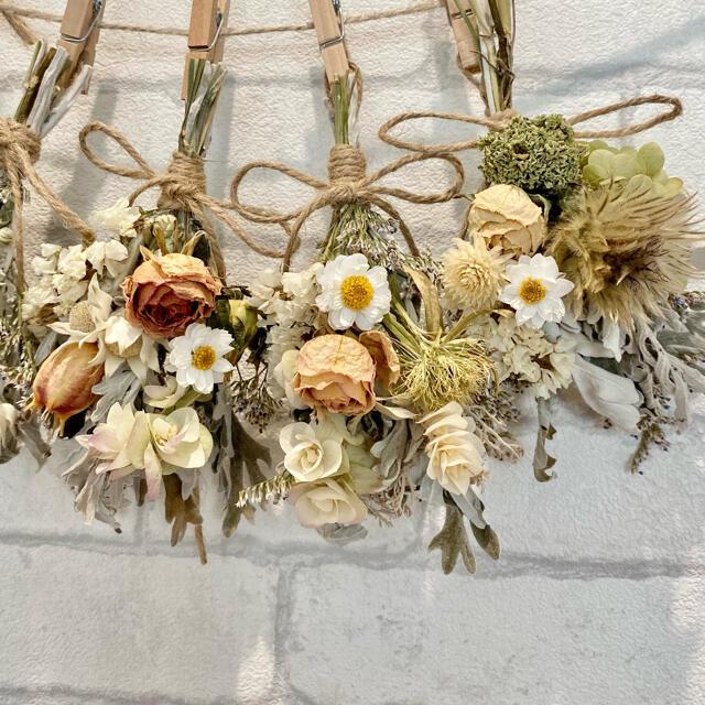 ドライフラワー スワッグ ガーランド❁314ナチュラル薔薇 アイボリー白 花束 ハンドメイドのフラワー/ガーデン(ドライフラワー)の商品写真