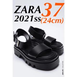 ZARA - ZARA トラックソール レザー フラットサンダル