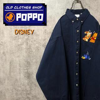 Disney - ディズニー☆くまのプーさんティガーポケットキャラ刺繍チノボタンダウンシャツ