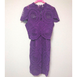 アメリヴィンテージ(Ameri VINTAGE)の編み上げ総レースおしゃれセットアップ ドレス(セットアップ)