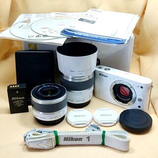 Nikon - ★美品★ミラーレス Nikon 1 J1 ダブルズームキット 白
