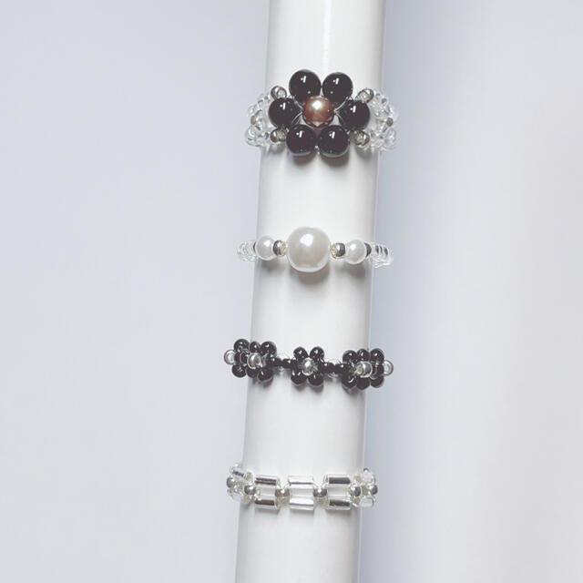 ビーズリング ブラック 4個セット ハンドメイドのアクセサリー(リング)の商品写真