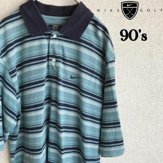 ナイキ(NIKE)の90s NIKE GOLF ボーダー ポロシャツ ナイキ ゴルフ Mサイズ 古着(ポロシャツ)
