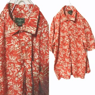 Santa Monica - OLD Eddie Bauer 花柄 ボタニカル柄 コットン素材 半袖シャツ
