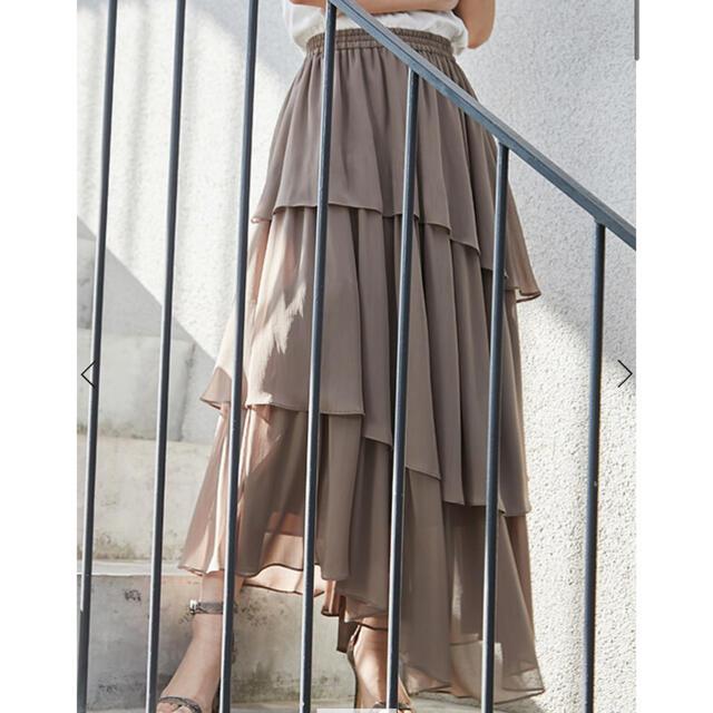 Noble(ノーブル)のanuans ランダムヘムティアードスカート レディースのスカート(ロングスカート)の商品写真