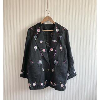 パナマボーイ(PANAMA BOY)の古着 レトロ  ヴィンテージ  used  デザイン ジャケット 刺繍(シャツ/ブラウス(長袖/七分))