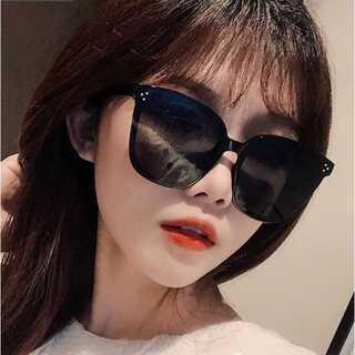 【韓流】サングラス 黒 黒縁メガネ 大きめフレーム 海外 韓国 目除け UV