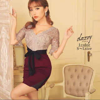 dazzy store - フラワー刺繍 タイトミニドレス