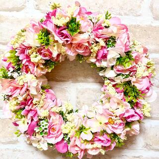 フラワーリース˚✧₊⁎ natural pink flower˚✧₊⁎Lサイズ(リース)