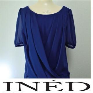 イネド(INED)のINED 半袖シフォンブラウス ブルー サイズ9 レーヨン100%(シャツ/ブラウス(半袖/袖なし))