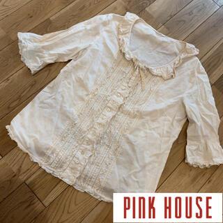 PINK HOUSE - ピンクハウス  PINKHOUSE ピコフリル レース リボン ブラウス