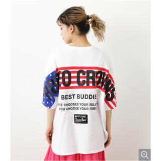 ロデオクラウンズワイドボウル(RODEO CROWNS WIDE BOWL)のロデオクラウンズ パターンラインTシャツ ホワイト(Tシャツ(半袖/袖なし))