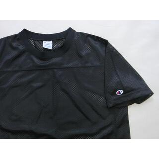 Champion - Champion チャンピオン 黒いポリエステルでメッシュの半袖Tシャツ L