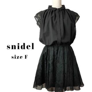 snidel - snidel ブラック レース ミニワンピース スナイデル F