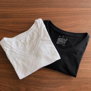ムジルシリョウヒン(MUJI (無印良品))の無印良品 Tシャツ 2枚 白 黒 Vネック(Tシャツ/カットソー(半袖/袖なし))