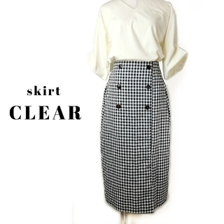 clear - CLEAR ギンガムチェック ミモレ丈 スカート F