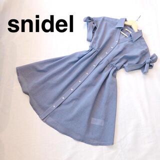 snidel - snidel スナイデル シャツワンピース 青 リボン フリーサイズ