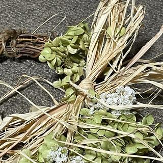 2021.完全無農薬‼️アナベル、カワラハハコドライフラワーのリース‼️小(ドライフラワー)