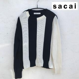サカイラック(sacai luck)のsacai luck サカイ バイカラーストライプ コットンニット(ニット/セーター)