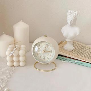 ホワイト ラウンド型 目覚まし時計 置き時計 ホワイトインテリア 韓国インテリア