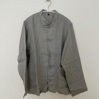 ムジルシリョウヒン(MUJI (無印良品))の無印良品 リネン100% 結びボタンシャツ チャイナシャツ(シャツ/ブラウス(長袖/七分))