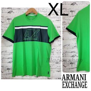 アルマーニエクスチェンジ(ARMANI EXCHANGE)の【未使用】A/X アルマーニ エクスチェンジ  Tシャツ 中央メッシュ 緑 XL(Tシャツ/カットソー(半袖/袖なし))