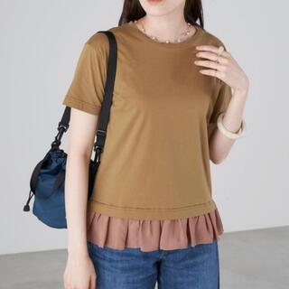 新品 eversince  Tシャツ 異素材切り替え裾シフォン半袖カットソー(カットソー(半袖/袖なし))