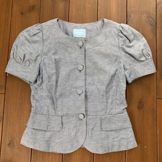 スーツカンパニー(THE SUIT COMPANY)のスーツカンパニー 半袖ジャケット 綿 麻 水色(ノーカラージャケット)
