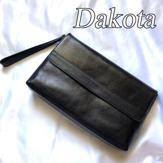 ダコタ(Dakota)の美品 Dakota ダコタ レザー クラッチバッグ セカンドバッグ ブラック(クラッチバッグ)