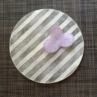 八木麻子 花小皿 プレート 紫 ピンク