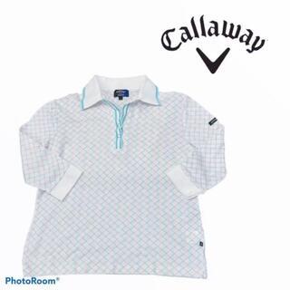 キャロウェイ(Callaway)のキャロウェイ ゴルフ ポロシャツ 7分丈 チェック 白 日本製(その他)