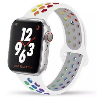Apple Watch スポーツ バンド 42/44mm ホワイト/レインボー