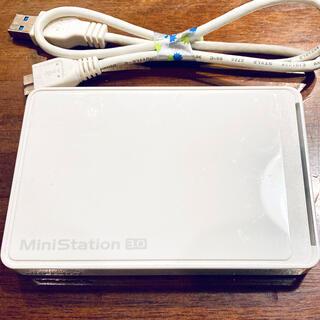 バッファロー(Buffalo)の美品☆BUFFALO ポータブルHDD 1TB ホワイト(PC周辺機器)