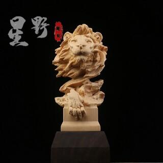 ライオン ライオンの手まり 招財開運 置物 客間の飾り 木彫仏教 精密彫刻(彫刻/オブジェ)