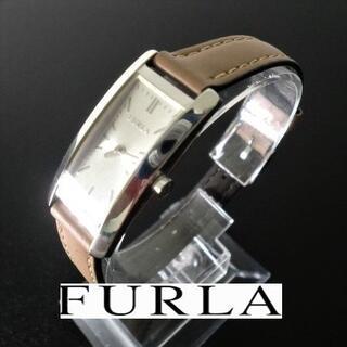 【稼働品】FURLA スクウェア シルバー文字盤 レディース腕時計(腕時計)