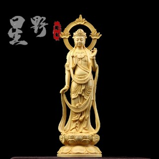 稀少珍品 大至勢菩薩  精密細工  木彫仏像 仏像立像 鎮宅辟邪 仏師で仕上げ品(彫刻/オブジェ)