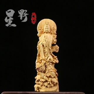 御龍観音 仏像 仏教美術品 仏教工芸品 木彫仏教 精密彫刻 仏師で仕上げ品(彫刻/オブジェ)