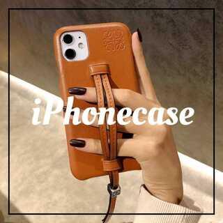 iPhone11proケース ブラウン レザー カバー  おしゃれストラップ