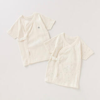 プティマイン(petit main)のプティマイン☆オーガニックコットン ワンポイント&総柄短肌着2枚セット(肌着/下着)